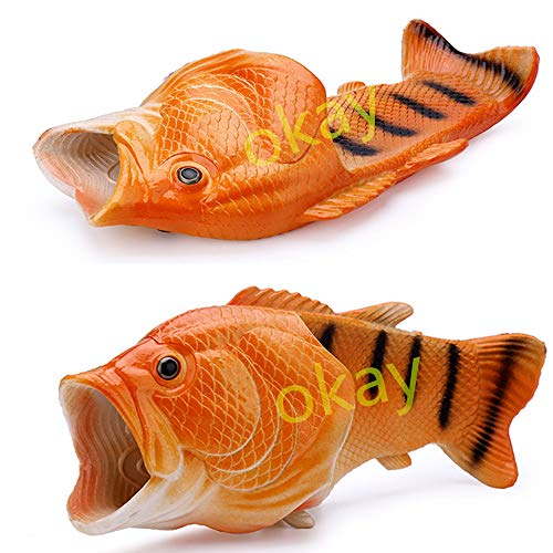 Okay Multiple Colour Creative Fish Slipper Man Handmade Fish Shoes Women Fish Slippers Unisex Beach Slippers … (Male 8.5-9.5=Female10-11, Golden)