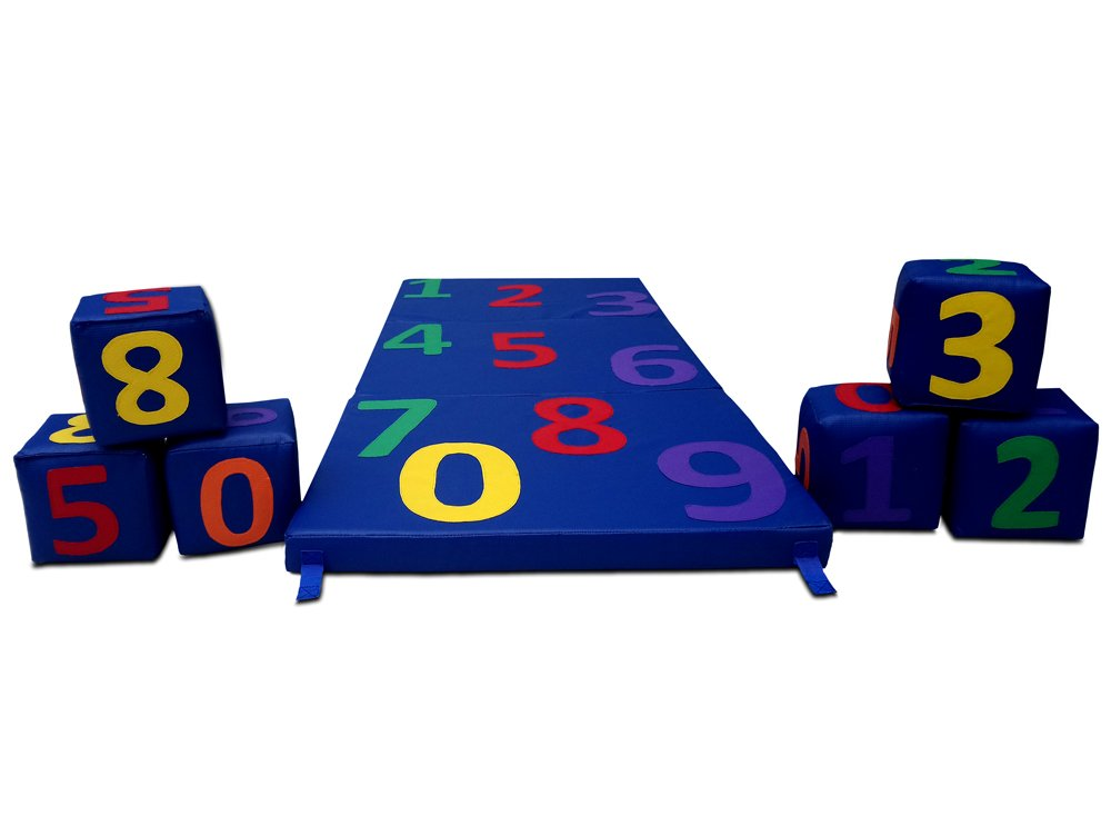 Viva kids FOAM MAT 59 X 24 X 5 inches with 6 in x 6 in. 6 PIECES OF FOAM SQUARES WITH STITCHED NUMBERS 0 9 IN COLOR LEARN NUMBERS AND COUNTING. INCREDIBLE FUN TOOL WITH NUMBERS