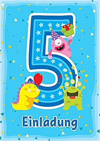 12 Einladungskarten Zum 5 Kindergeburtstag Blau Schone