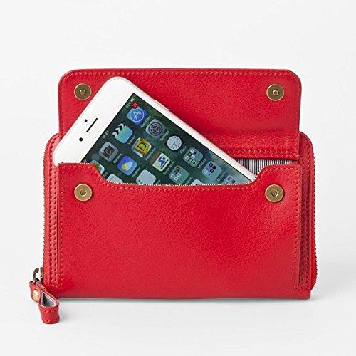 [スモールタイプ タンジェリンレッド] スマホ入れ、お財布になるスマホウォレット iPhone5/6など小さいスマホ向け/スイス発カーフレザー多機能お財布 ファッション 財布 キーケース カードケース その他の財布 キーケース カードケース top1-ds-1934403-ah [簡素パッケージ品] B0756FTFP4