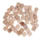 MonkeyJack 50 Pieces Wooden Blank Rounded Corner Six Sided Dices DIY for Party Bar Casino Game Supplies 0.78inch
