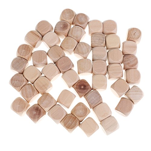 MonkeyJack 50 Pieces Wooden Blank Rounded Corner Six Sided Dices DIY for Party Bar Casino Game Supplies 0.78inch by MonkeyJack