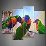 First Wall Art - Four Rainbow Lorikeets Stand On Rock Wall Art Painting The Picture Print On Canvas Animal Pictures For Home Decor Decoration Gift