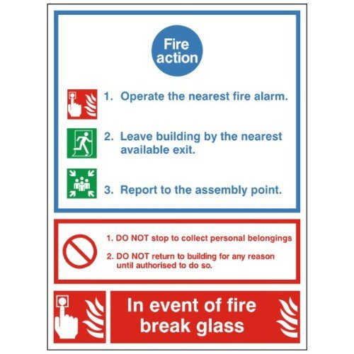 Fire Action Sign 'Alarm, Nearest Exit, Assembly point, br...