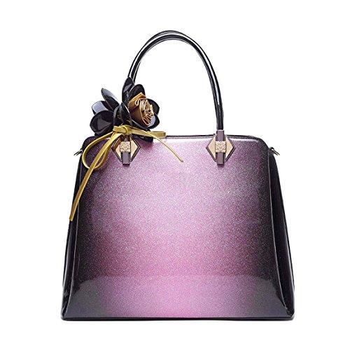 Gradient Sac de Verni à Main épaule à Main KAXIDY Rosa Bandoulière Mode Cuir Sac Sac de Sac Couleur Femme Violet 1xqOS64nw