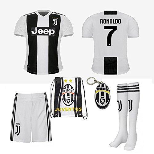 Juventus Serie A 2018 19 Ronaldo Dybala REPLICA Jersey Kid Kit : Shirt, Short, Socks, Soccer bag and PVC Key (C. Ronaldo, Size K20 (3-4 Yrs Old ()