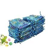 Wuligirl 100 PCS Blue Coralline Pattern Organza Drawstring Pouches Wedding Party Bag Candy Gift Bags (100 PCS Coralline Pattern, 3.4x4.3