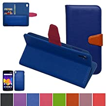 Alcatel One Touch Idol 3 (5.5 inch) Case,Mama Mouth [DETACHABLE Feature] Folio Flip Hard Case [Stand View] Premium PU Leather [Wallet Case] With Built-in Media Stand ID Credit Card / Cash Slots and Inner Pocket Cover For Alcatel One Touch Idol 3 (5.5 inch), Blue