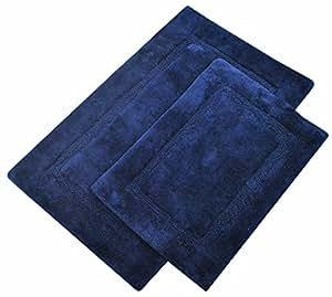 Navy Striped Bath Mat