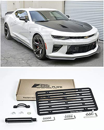 Extreme Online Store Replacement for 2016-Present Chevrolet Camaro RS SS ZL1 | EOS Plate Version 2 Front Bumper Tow Hook License Plate Relocator Mount Bracket EOS-Tow-409-V2 (Full Size)