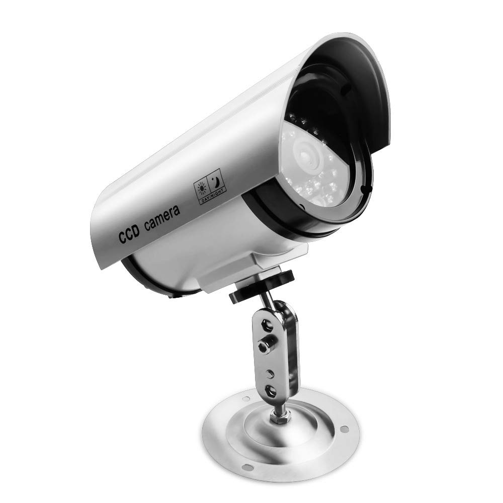 Fake Cameras for Security, Dummy Bullet Surveillance CCTV Camera Indoor Outdoor Home Security with one LED Light…
