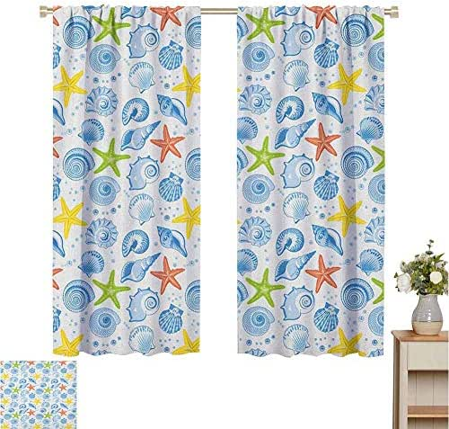 June Gissing Sea Shells Curtain for Living Room Starfishes Aqua Marine Inspirations Aquarium Oyster Nautical Wildlife Underwater Top Darkening Curtains W55 x L63 Multicolor