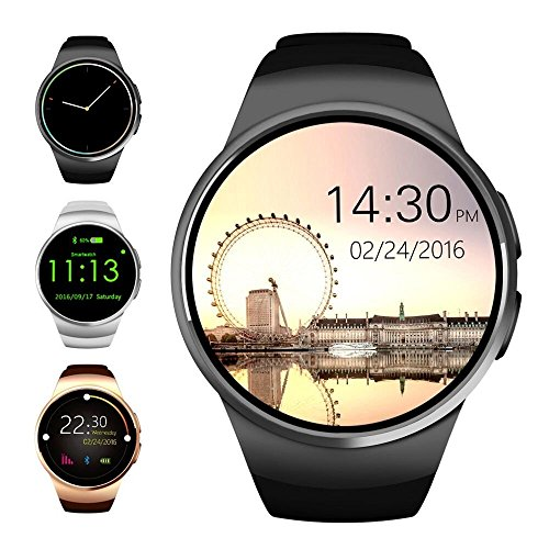 Bluetooth-Smart-Watch-Evershop-13-inches-IPS-Round-Touch-Screen-Water-Resistant-Smartwatch-Phone-with-SIM-Card-Slot-Sleep-Monitor-Heart-Rate-Monitor-and-Pedometer-for-IOS-and-Android-Device