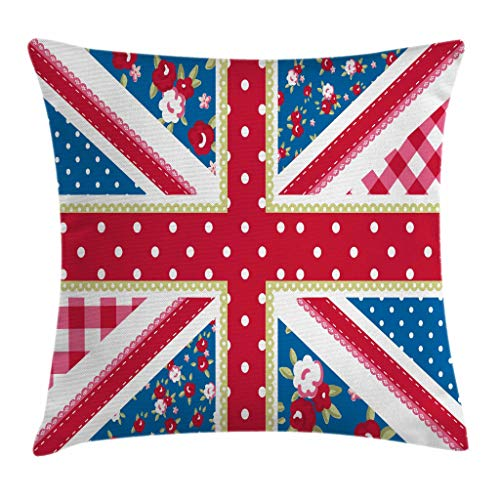 Ambesonne Shabby Flora Throw Pillow Cushion Cover, British Flag in Floral Style Retro Polka Dots Country Culture Inspired, Decorative Square Accent Pillow Case, 16