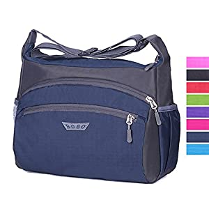 Unisex Casual Crossbody Bag Water Resistant Shoulder Bag Nylon Messenger Bag (Blue)