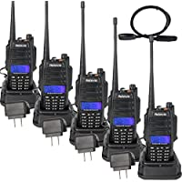 Retevis RT6 2 Way Radio IP67 Waterproof Dual Band VHF/UHF 136-174Mhz/400-520Mhz Walkie Talkie with Earpiece (5 Pack) and Programming Cable (1 Pack)