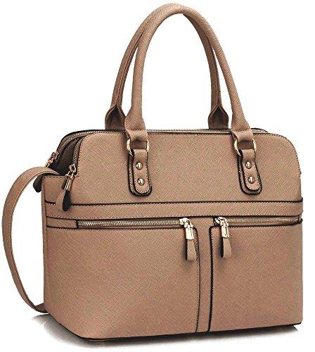 Ladies Women's Fashion Designer Celebrity Tote Bag Faux Leather Handbags Mude/Nude