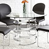 High-Shine Metal Base Tempered Glass Top Dining Table