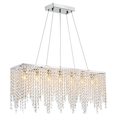 Moooni Rectangular Crystal Chandelier Modern Hanging Dining Room Pendant Lighting L31.5 x W8 Rain Drop Decoration 7 Lights