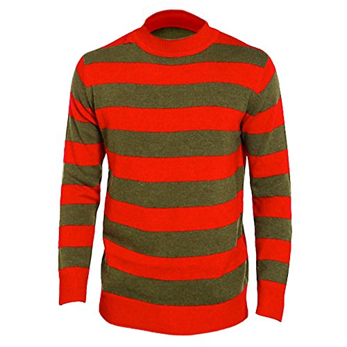 New Unisex Adults Freddy Kruger Red/Green Striped Fancy Costume Halloween (Freddy Kruger Halloween Costume)