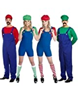 Couples Adults Mens & Ladies Mario AND Luigi 80s Plumbers Videogame TV Film Fancy Dress Costumes Party Outfits Plus Size (Ladies UK 20-22, Red)