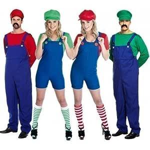 Par adultos Hombre & Mujer Mario y Luigi 80s fontanero Video Game ...