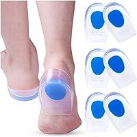 3 Pair Gel Heel Cups Plantar Fasciitis Inserts - Silicone Gel Heel Pads for Heel Pain, Bone Spur & Achilles Pain, Gel…
