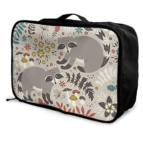 Portable Luggage Duffel Bag Raccoon Travel Bags Carry-on In Trolley Handle