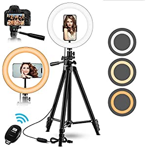 """Best Epic Trends 51Q1eewz3cL._SS300_ 10"""" Ring Light, Upgraded Selfie Ring Light with 53'' ExtendableTripod Stand &Phone Holder, Perfect for Live Stream/Makeup/YouTube Video/TikTok Compatible with Phones and Cameras (Gray)"""