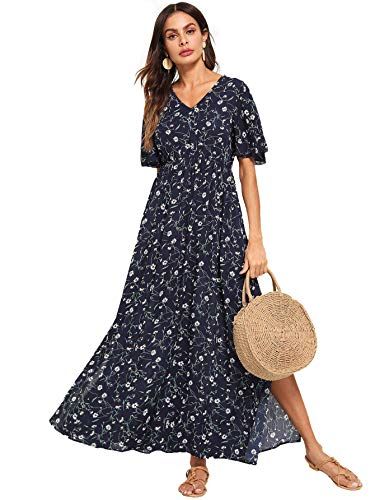 Print Vintage Dress - Milumia Women's Boho Split Tie-Waist Vintage Print Maxi Dress Large Navy-4