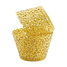 Cupcake Holders (50pcs) PAMISO Filigree Vine Designed Decor Wrapper Wraps Cupcake Muffin Paper Holders (Gold)