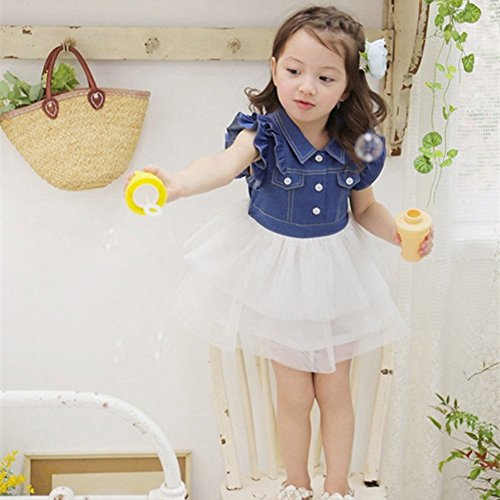 Amazon.com: PanDaDa Girl Tutu Denim Dress Short Sleeve Lace ...