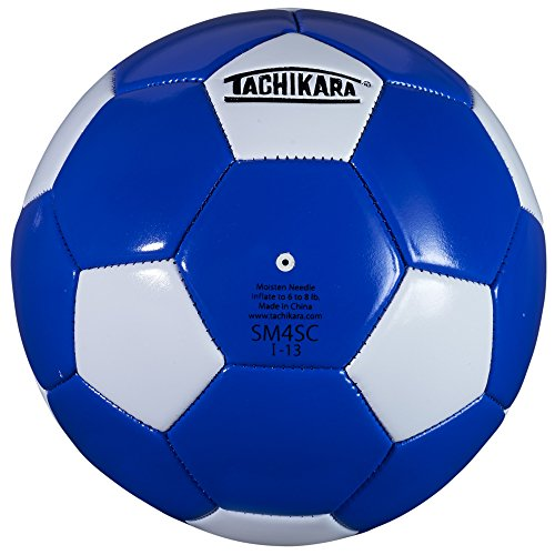 Tachikara SM4SC dual colored soft PU soccer ball, size 4 (royal/white).