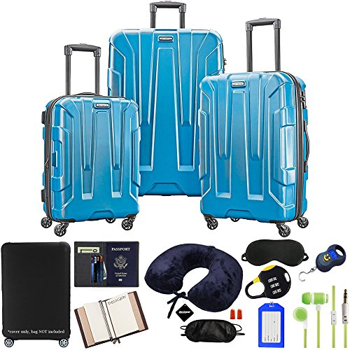 (Samsonite Centric 3-Piece Luggage Set, Caribbean Blue with Accessory Kit)