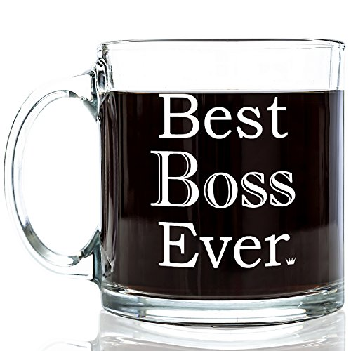 Best boss ever glass coffee mug 13 oz unique birthday for Cool glass coffee mugs