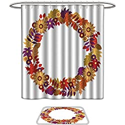 Bathroom Sets Non SlipFall wreath with oak maple and other autumn leaves and flowers on white background Perfect for holiday invitations greeting cards Thanksgiving banners and posters sale and prom