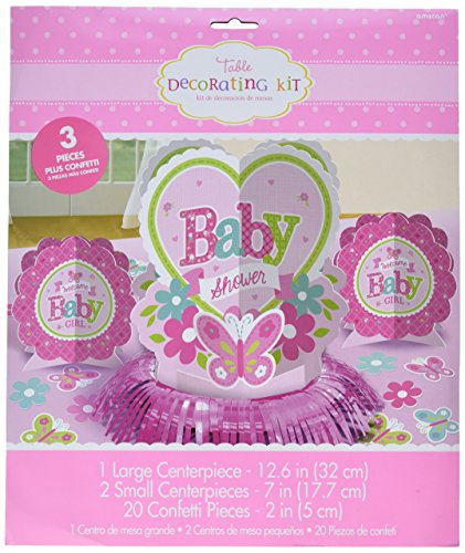Amscan Appealing Welcome Little One Girl Table Decorating Kit Baby Shower Party Decorations, 12-1/2