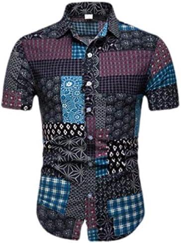 HANA+DORA Mens Luxury Print Slim Short Sleeve Casual Button Down Dress Shirt