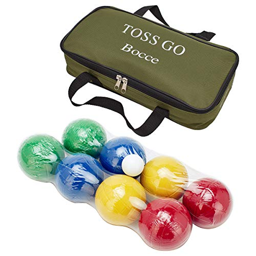 (LAWN TIME Bocce Set - Recreational Plastic 90mm Bocce Ball Set with Carrier Bag - Classic Outdoor Toss Game )