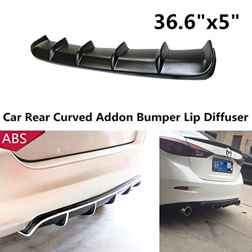 "36.6""x5"" Matte Black ABS Universal Rear Shark Fin Style Curved Addon Bumper Lip Diffuser 6 Fin Kit"