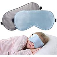 LONFROTE 2 Stück Kinder Mädchen Junge Seide Schlaf Augenmaske Schlafmaske mit Tragetasche, Leicht & Bequem und Verstellbar, Super Weiches Material für Alter 3 bis 17 Jahren (Blau + Grau)
