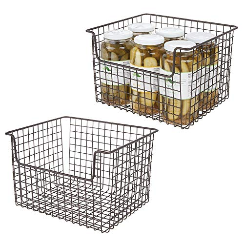mDesign Metal Kitchen Pantry Food Storage Organizer Basket - Farmhouse Grid Design with Open Front for Cabinets, Cupboards, Shelves - Holds Potatoes, Onions, Fruit - 12