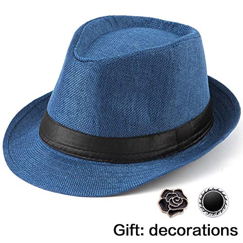 LADYBRO Beach Hat Men's Fedora Hats - Blue Hat Mens Straw Hats for Men Fedora Hat Summer]()