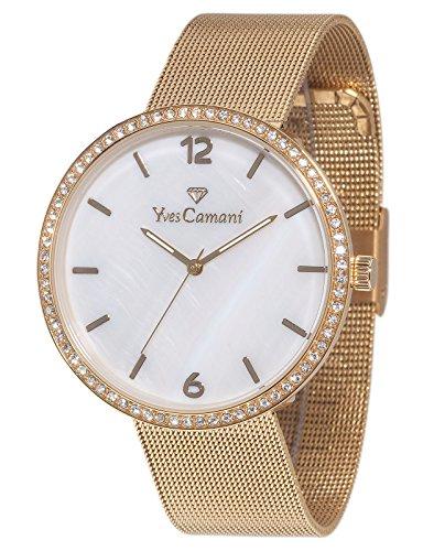 Yves Camani Adorian Women's XL Quartz Watch Gold Plated Stainless Steel Milanaise Strap YC1086-C