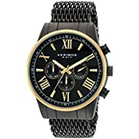 Akribos XXIV Men's Swiss Quartz Multi-Function Gold-Tone Sunray Dial on Gold-Tone Shark Mesh Stainless Steel Bracelet Watch AK919BKYG