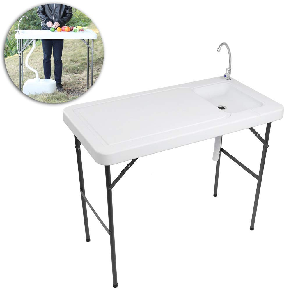 VINGLI Outdoor Folding Fish and Game Cleaning Table w/Sink| Portable & Durable, Standard Garden Connection, Upgraded Drainage Hose, Stainless Steel Faucet by VINGLI