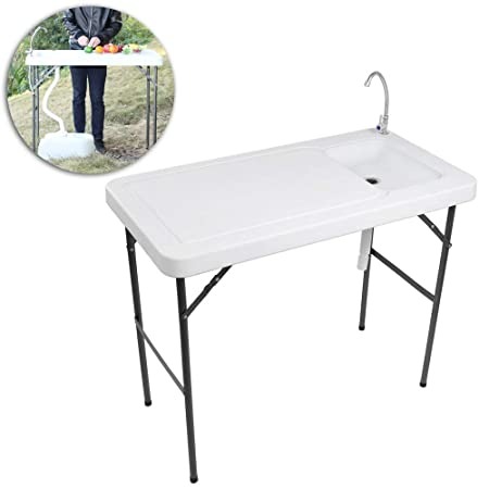 VINGLI Outdoor Folding Fish and Game Cleaning Table w Sink Portable Durable, Standard Garden Connection, Upgraded Drainage Hose, Stainless Steel Faucet