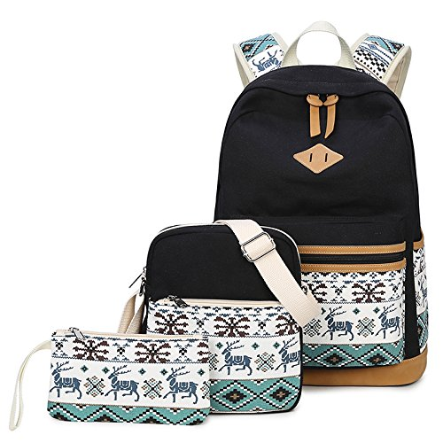 Joymoze Canvas School Backpack for Girl Cute Backpack Set 3 Pieces for Women ()