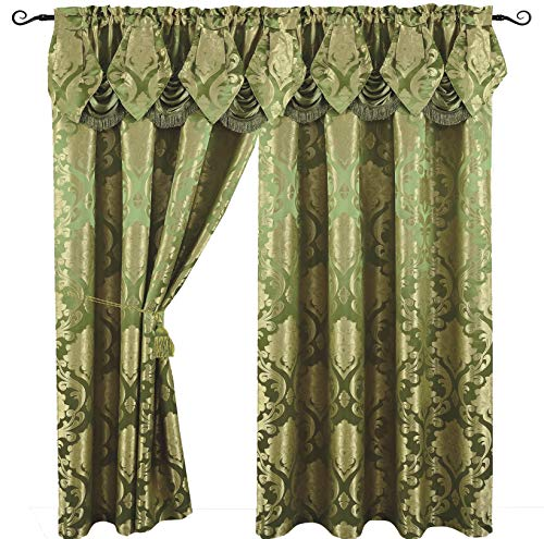 Venice Collections Luxury Jacquard Curtain Panel with Attached Waterfall Valance, 54 by 84-inch Angelina (Sage Living Room Set)