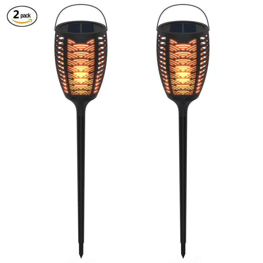 FOXLUX Solar Lights - Torch Lights & Table Lamp & Hanging Lights 3 in 1, Light Sensor Outdoor Lighting, Waterproof Flames Lights, Solar Powered & USB Charging Security Lights for Pathway (2 Pack)